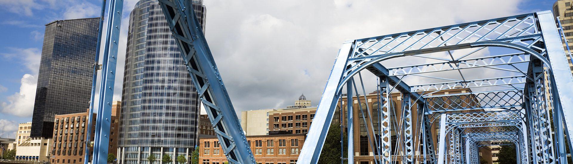 Blue bridge in Grand Rapids, Michigan, USA.
